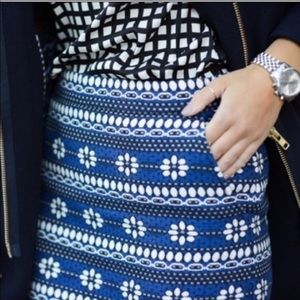 J Crew Blue White Floral Jacquard Mini Skirt 2